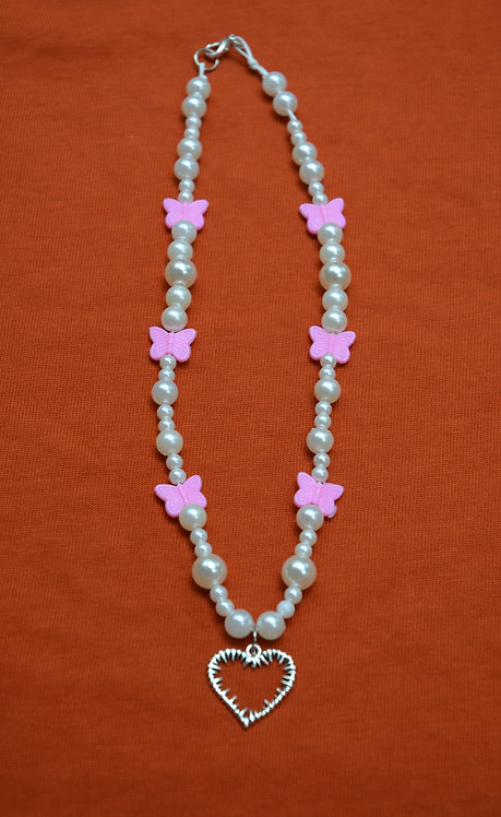 PEARLY PINK BARB NECKLACE (44CM)