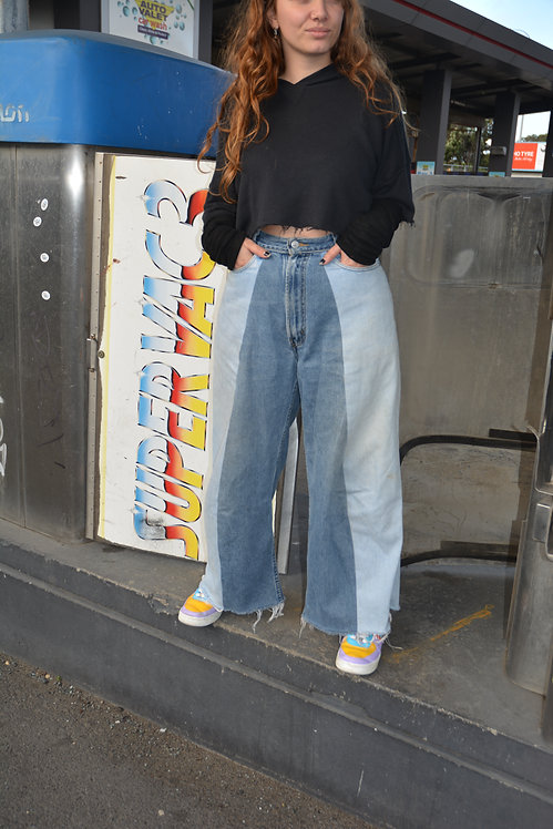 "REWORKED WIDE LEG LEVI'S (30"")"