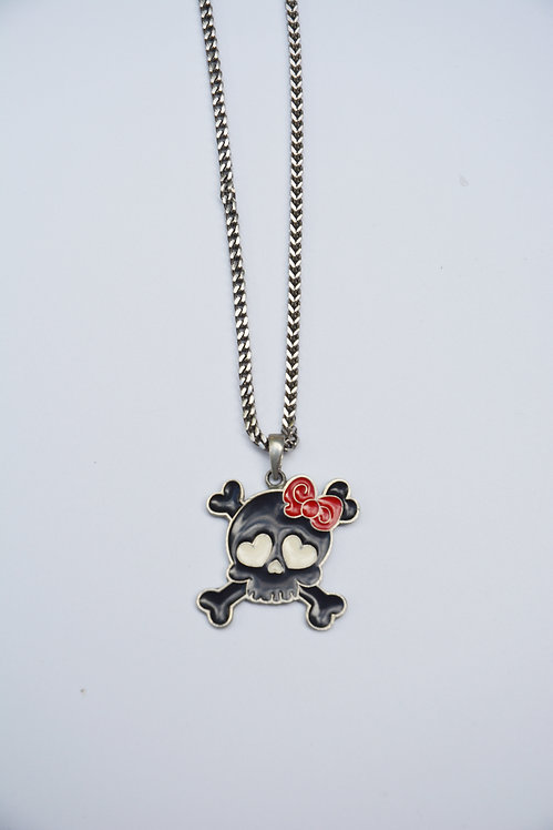BABY BOW SKULL PENDANT NECKLACE