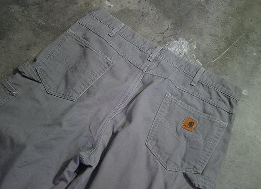CARHARTT GREY WASH CARPENTER PANTS (38)