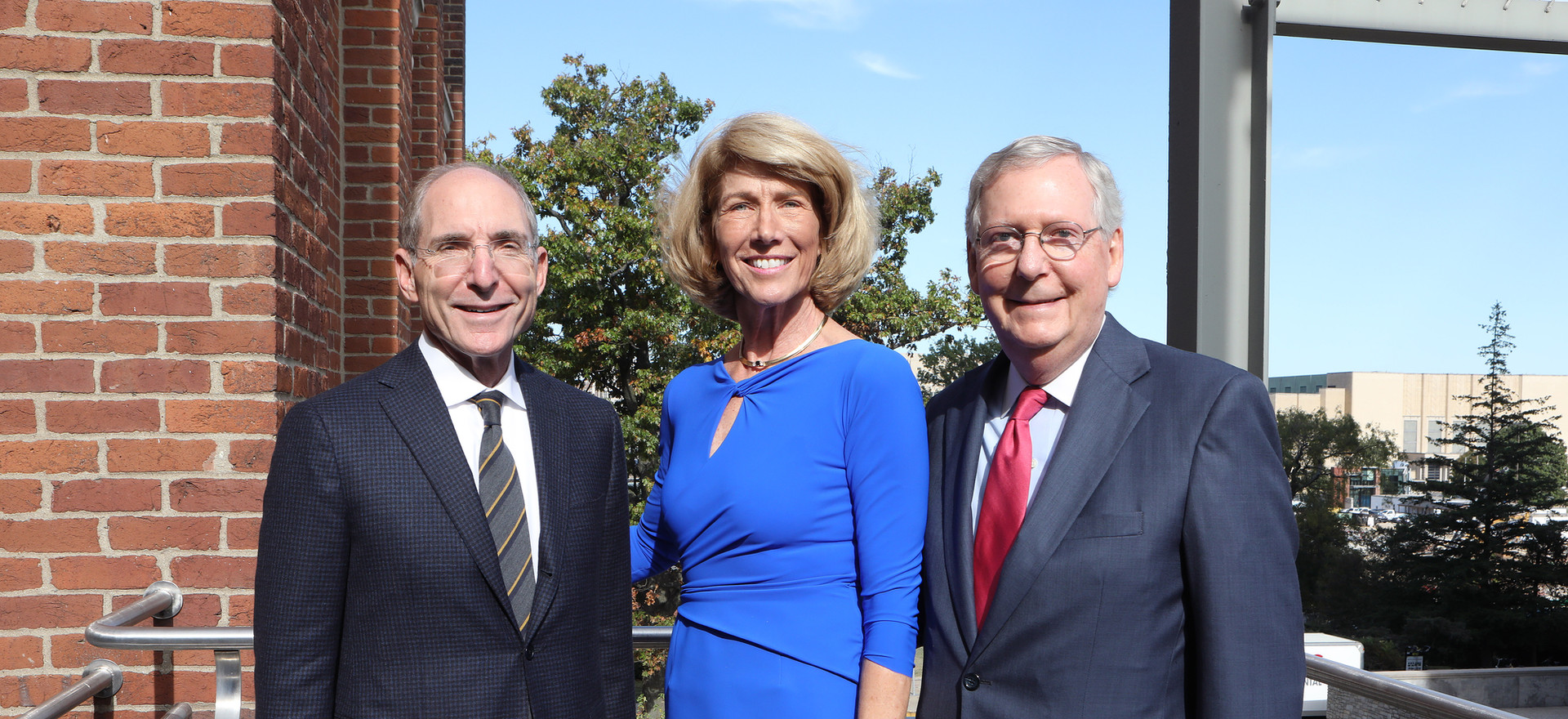 UK President Eli Capiluto, Dr. Martha Heyburn, and Senator Mitch McConnell after the Initiative unveiling.