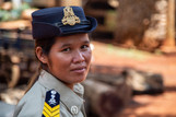 """I'm very proud of my job, and I'm proud to be the first woman to do it,"" said Ms. Srey Dum, a forme"