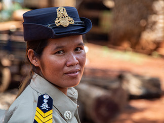 """""""I'm very proud of my job, and I'm proud to be the first woman to do it,"""" said Ms. Srey Dum, a forme"""
