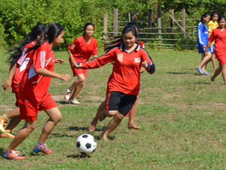 Remote Cambodians take to the field with new sport equipment