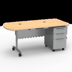 TEXTAMETER Teacher Desk Peninsula Top