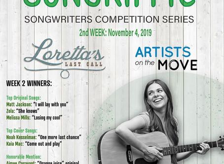 Songriffic, singer songwriters competition series, week 2 winners