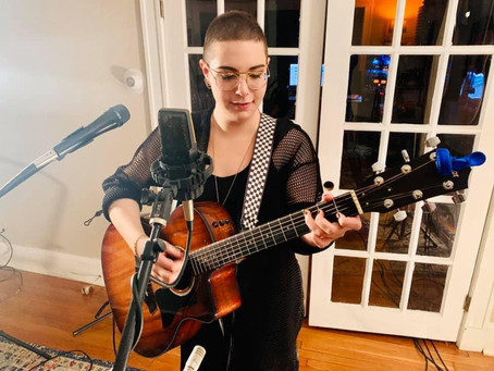 """Melissa Fine recorded live looping of new original """"Goldmine"""" at PB & J Records"""