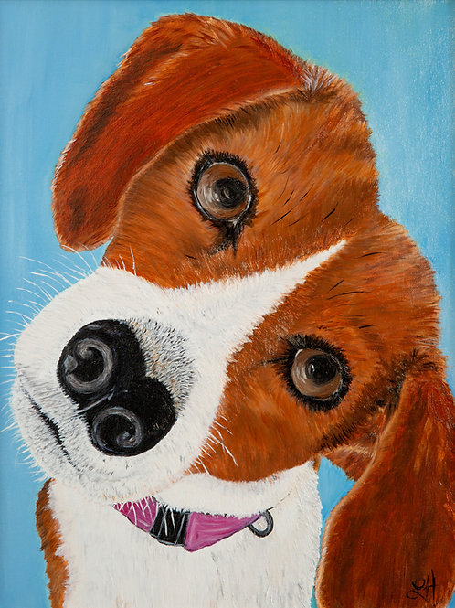 Beagle Note Card by Lesley Hauville