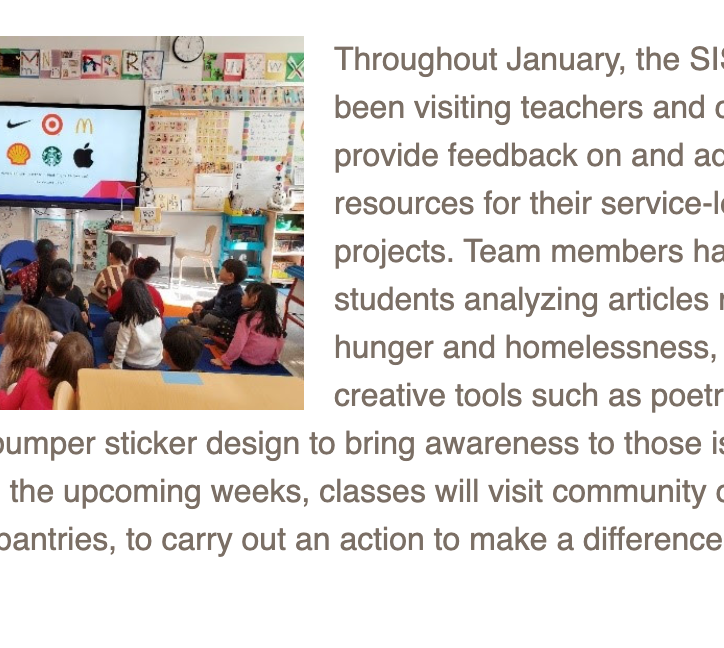 Service In School January 2020 Newsletter