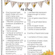 3-K School Supply List
