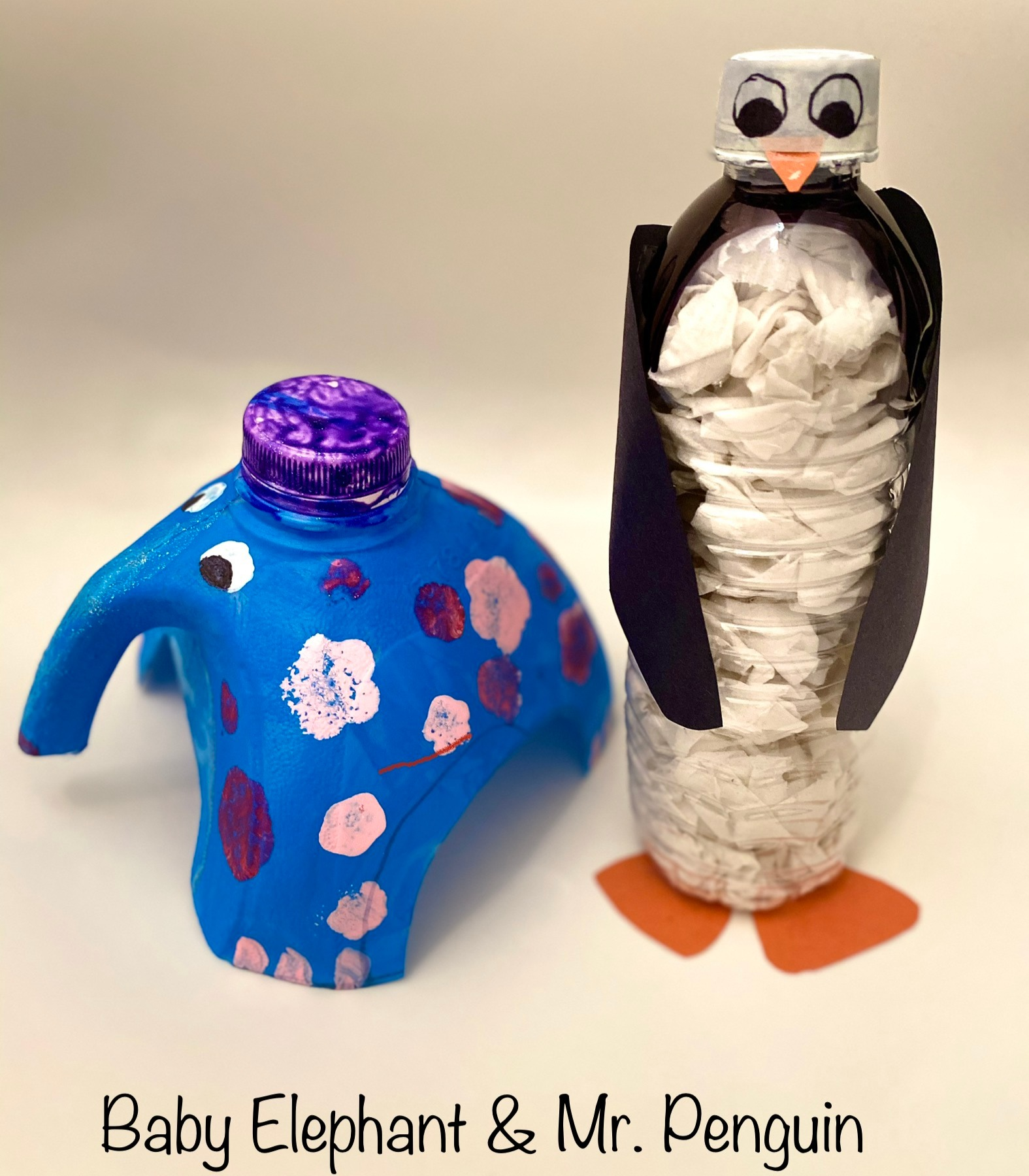 Baby Elephant and Mr. Penguin Upcycle by Isabella (2nd Grade)