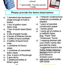 Pre-K School Supply List