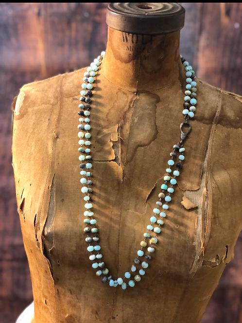 Amazonite Diamond Clasp Necklace