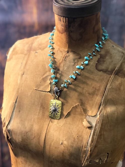 Gold Vermeil Diamond Starburst and Amazonite Necklace