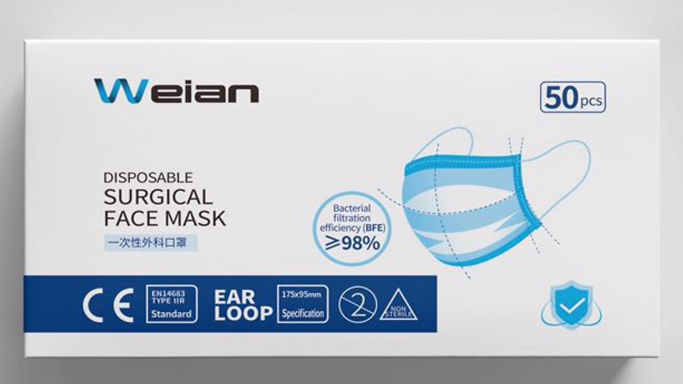 Weian 3 Ply Disposable Surgical Face Mask 50pcs/box