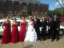 spacious 8 passenger limousine with a wedding party from RoadTrip Limo's party bus / limousine that services Superior Wi, Duluth MN, Hibbing, Grand Rapids, The Iron Range MN and Virginia MN for weddings, bachelorette & bachelor parties or Prom
