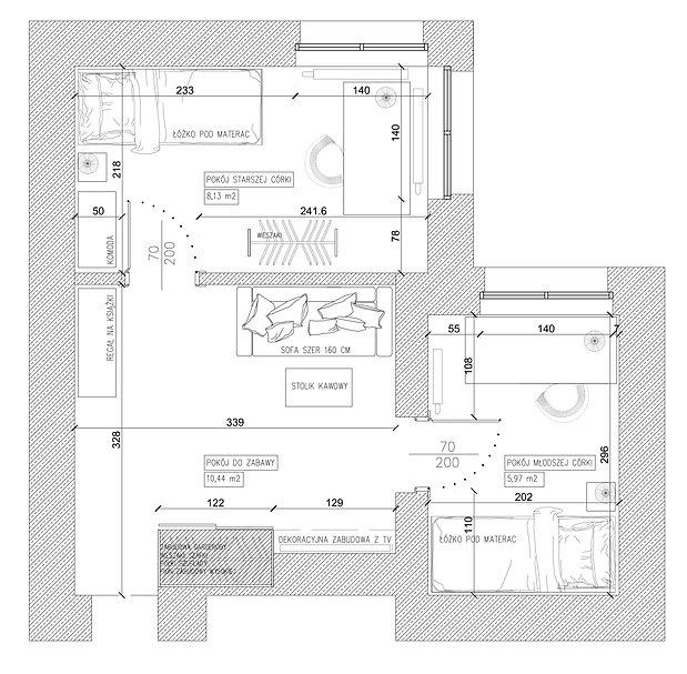 Pokój dziecięcy rzut koncepcja 1 | Architekt wnętrz Gdańsk, Gdynia, Sopot | DIZAIN RUM