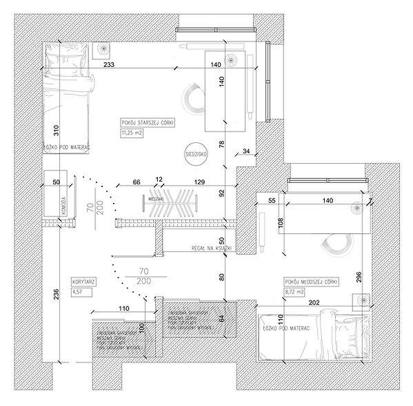 Pokój dziecięcy rzut koncepcja 2 | Architekt wnętrz Gdańsk, Gdynia, Sopot | DIZAIN RUM