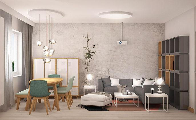Przestrzeń dzienna w powojennym bloku   Architekt wnętrz Gdańsk, Gdynia, Sopot   Dizain Rum