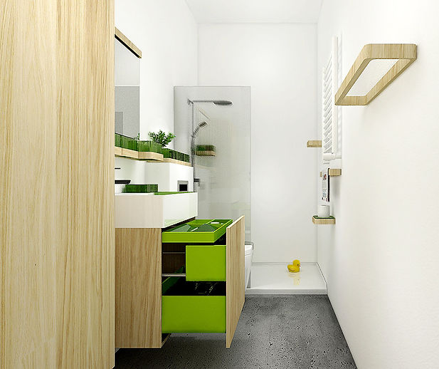 Meble łazienkowe | Kolekcja mebli dedykowanych do wąskiej łazienki.