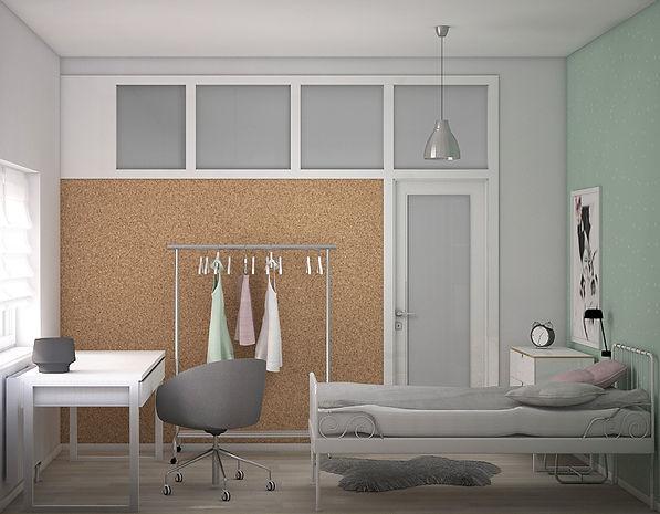 Pokój starszej córki koncepcja 1 | Architekt wnętrz Gdańsk, Gdynia, Sopot | DIZAIN RUM
