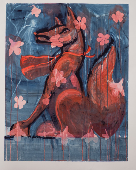 Stone Fox With Cherry Blossoms