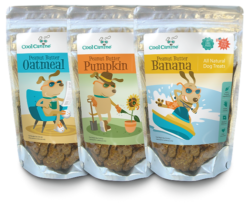 Classic Combo 3-Pack Natural Dog Treats (8-oz bags) - Oatmeal, Pumpkin, Banana