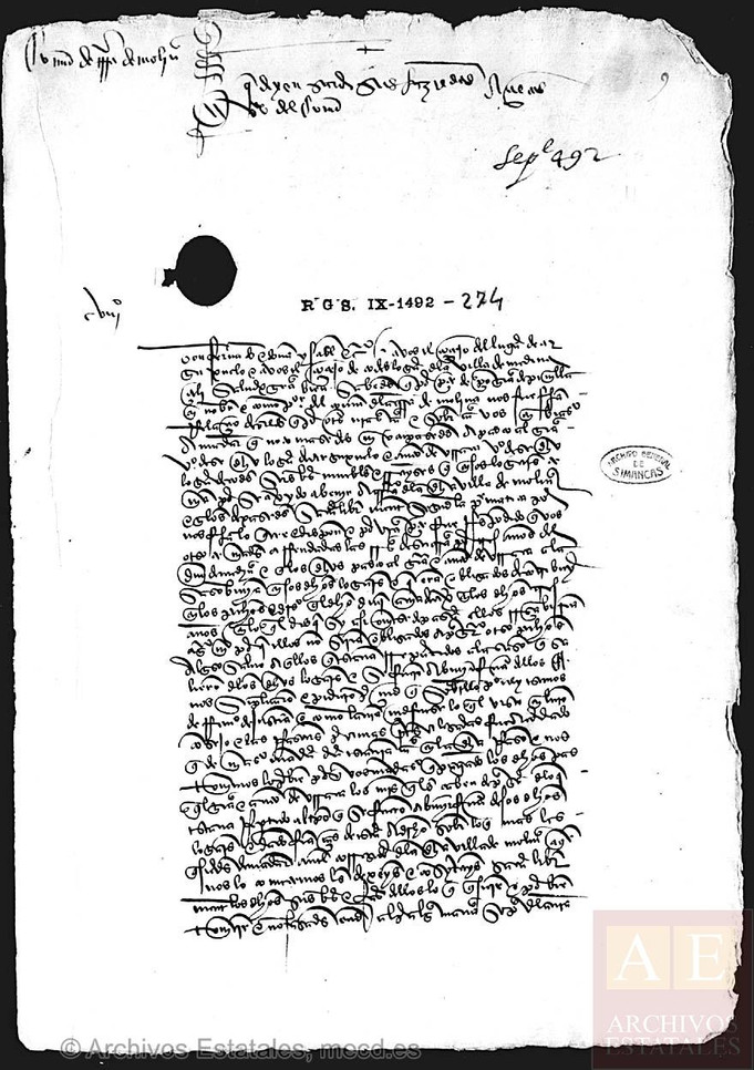 El vecino Don ANTÓN de URRACA en el año 1492...