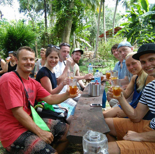 Herbal garden + factory tour + tea tasting = Happy faces