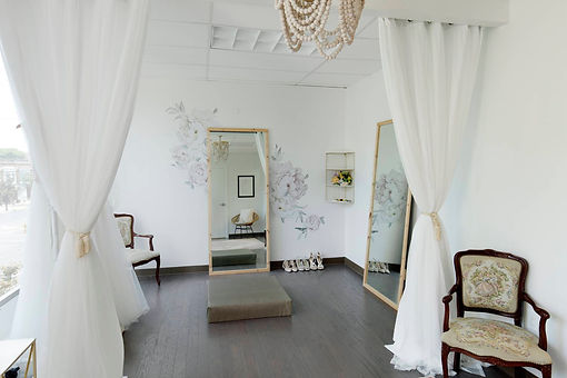Local, gorgeous Bethlehem bride room and atelier space for brides to try on dresses. Light, airy spacious bride room.