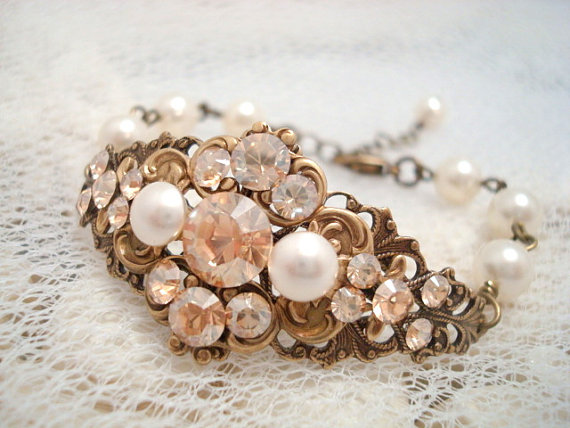 Antique Brass Pearl Bracelet