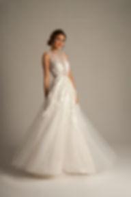 3D lace sheer wedding dress
