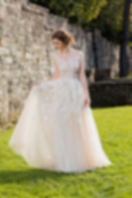 Wedding Dress, Lace wedding dress, tulle full skirt, Barbara Kavchok