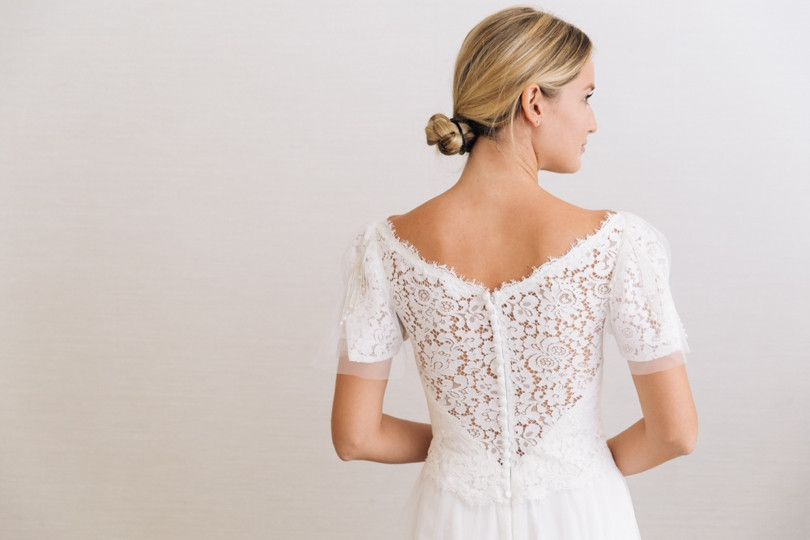 Lace Sheer Back Wedding Dress