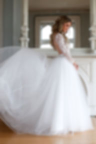 long sleeve lace ball gown with train
