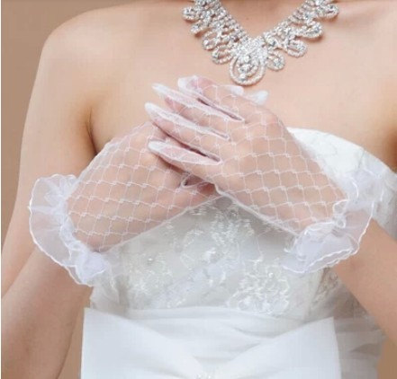 Fish net lace bridal gloves