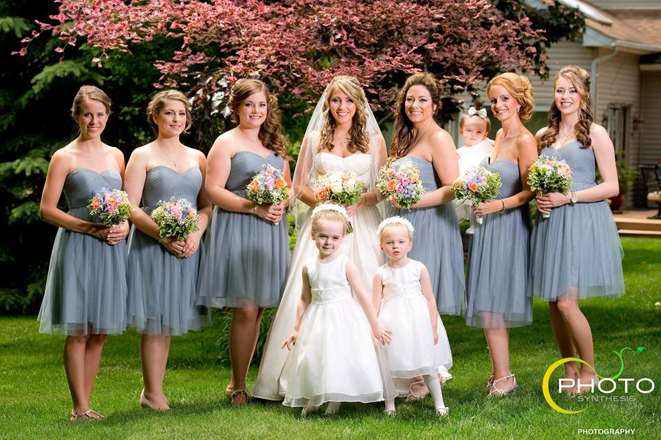 Real Bride Nicole with Bridesmaids and Flower Girls