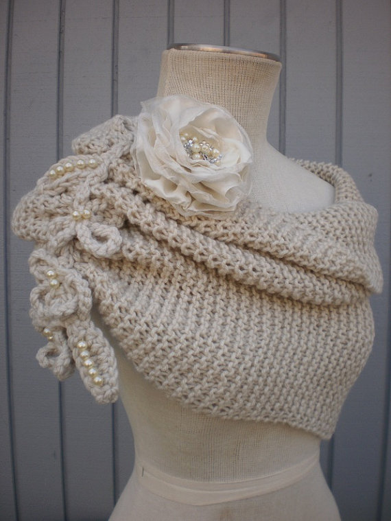 Off White Knit Bridal Shawl
