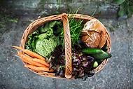 Fresh vegetables and bread market basket healthy meals