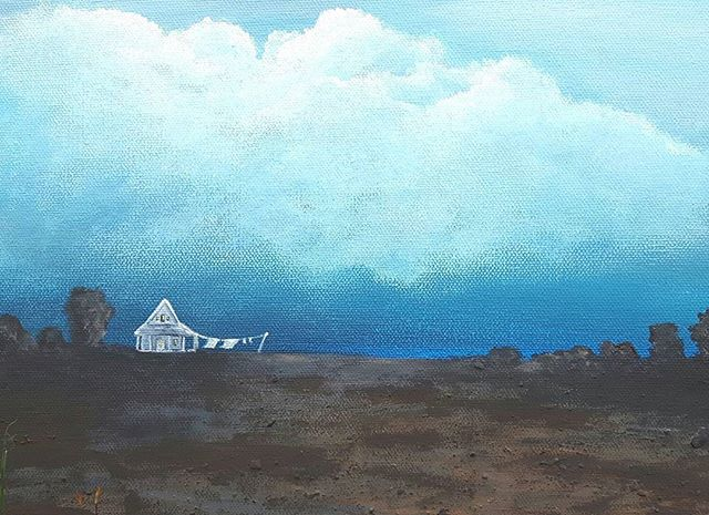 _Get the laundry in before it rains_ painted with authentic Bay of Fundy mud and acrylics