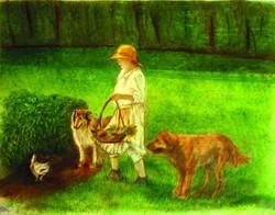 Mom in the garden - conte, pastels and pencil crayon