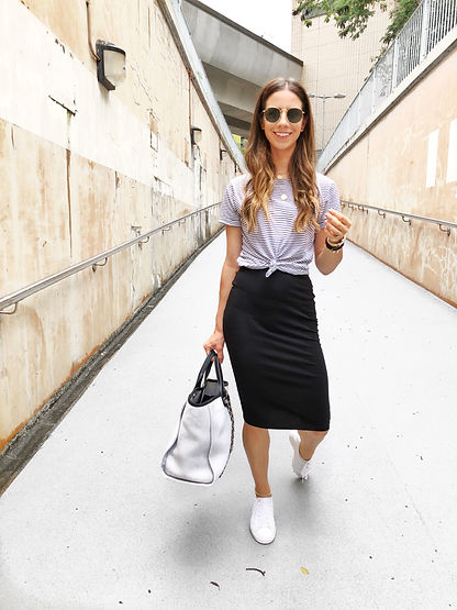 ea4ba13147 ... doesn t mean your skirts need to be collecting dust in your closet. Wear  them with your favorite cozy T-shirt and a comfy flats