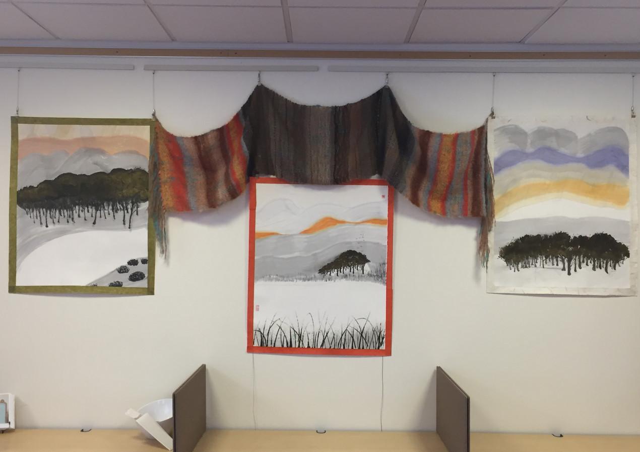 Golden Forest I (left), II (middle) & III (right) + Orange Weaving (Above) (2019)