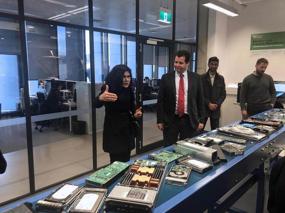 Lab tour with Professor Veena Sahajwalla explaining the micro factory