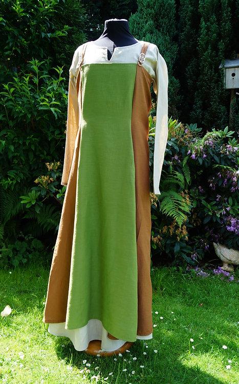Haithabu-Trägerrock Leinen grün/braun