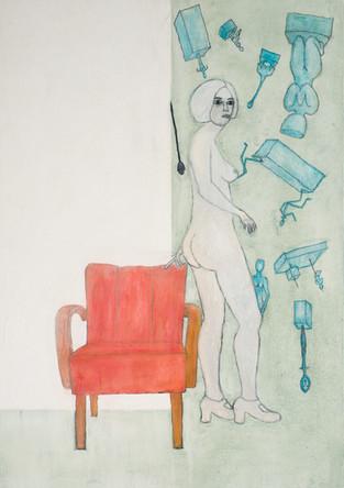 Judith mit Sessel und Skulpturen