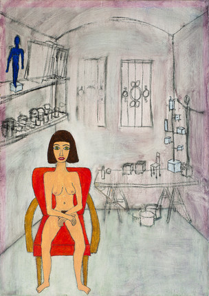 Akt auf Sessel im Atelier 2