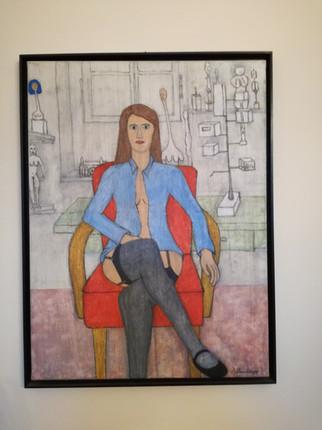 Akt auf Sessel im Atelier 1