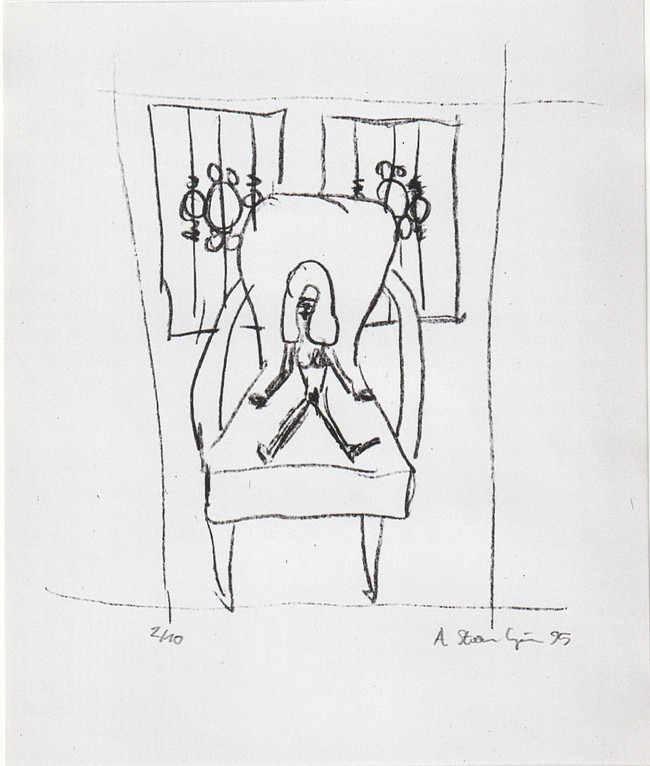 "Lithographie ""Akt auf Sessel im Atelier 4"""