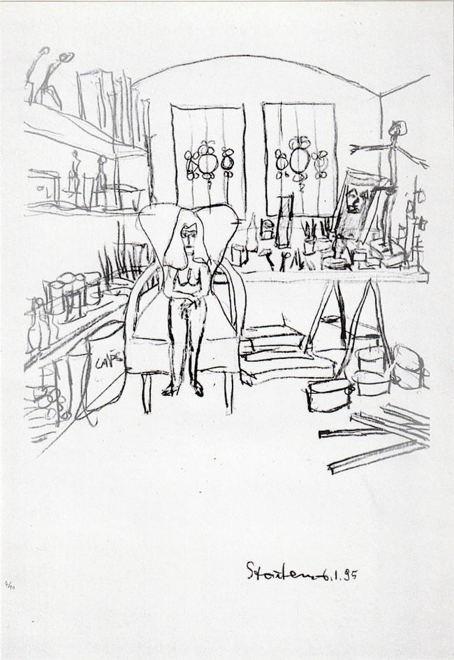 "Lithographie ""Akt auf Sessel im Atelier 3"""
